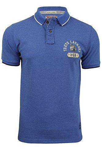 Tokyo Laundry Herren Blusen Poloshirt, Einfarbig grau grau Small Kornblume (Blau)