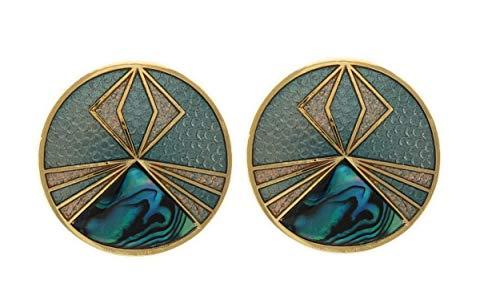 Behave Damen Designer runde Clip Ohrringe aus Kupfer - Petrol Dunkelblau met Abalone Muschel - 2,5cm Größe (Designer Ohrringe)