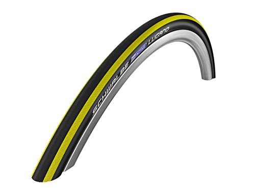 Schwalbe Lugano - Cubierta plegable para neumático de bicicleta (kevlar, sílice, 700 x 23c, 225 g), banda de color amarillo