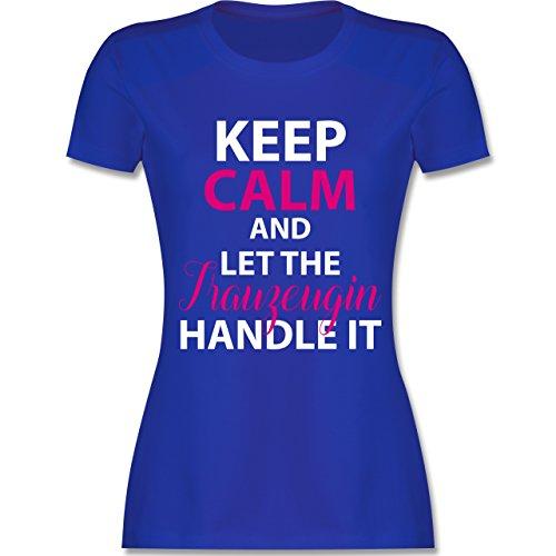 Shirtracer JGA Junggesellinnenabschied - Keep Calm Trauzeugin - Damen T-Shirt Rundhals Royalblau