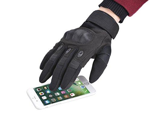 Coofit Taktische Handschuhe Winter Motorrad Handschuhe Herren Vollfinger Army Gloves Biking Skifahre Handschuhe (Schwarz, L) - 2