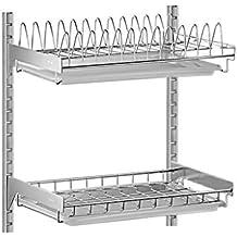 Escurridor de platos de 2 niveles Estante para platos montado en la pared  con bandeja de goteo 14060d3f7570