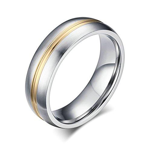 Bishilin 6MM Titanio Acciaio Argento e Oro Tone Opaco Finito Anello Fidanzamento per Anniversario con (6 Mm Opaco)