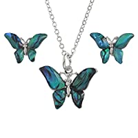 BellaMira Abalone Blue Butterfly Earrings and Necklace Jewellery Set