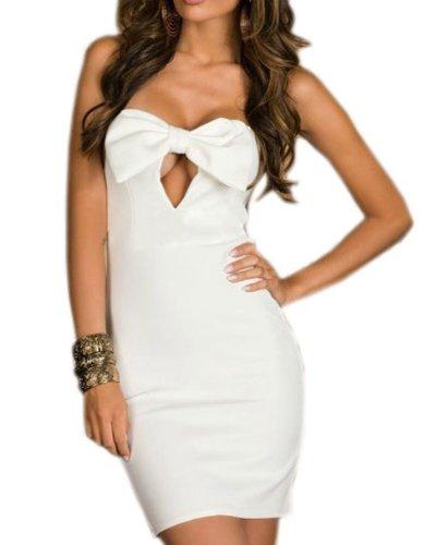 Pinkyee Damen Strandkleid Weiß - 113989-White