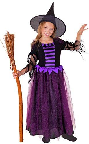 Deluxe Hexe lila - Hexenkostüm für Kinder Halloween lila-schwarz - Hexenkostüm Mädchen (152) (Kind Deluxe Hexe Kostüme)