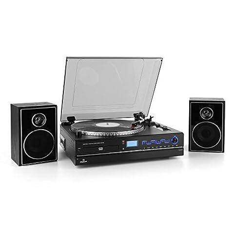 auna TCRD 993C Plattenspieler Hifi Stereoanlage mit Fernbedienung (Digitalisierung auf CD, Lautsprecher, UKW-Radio, CD-Player, Kassettendeck, Pitch-Funktion, Staubschutzhaube)