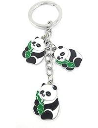 Key Era Grass Eating Designer Kung Fu Panda Black & White Colour Metal Keychain & Keyring For Bikes, Cars, Bags...