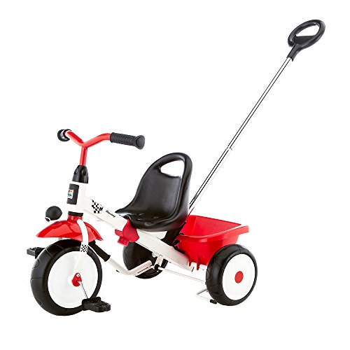 Kettler Happytrike Racing - das coole Dreirad mit Schiebestange - Kinderdreirad für Kinder ab 2 Jahren - mitwachsendes Kinderfahrzeug inkl. kippbarer Sandschale - weiß & rot