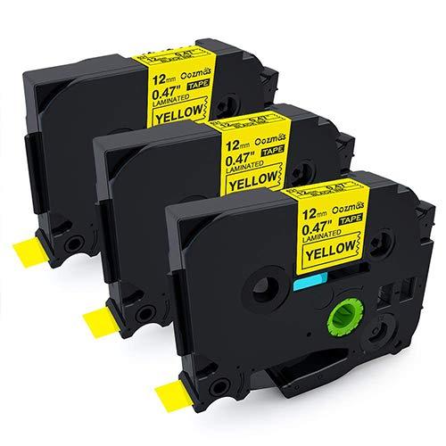 3er Kompatibel Brother Tape Cassette TZe-631 12mm Schwarz auf Gelb 12mm breit x 8m Länge, Schriftband für P-TouchH100LB H105 D200BW D400VP E100 Gelb 12