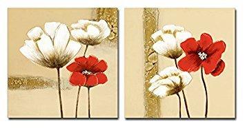 Cuadros de flores roja y blancas