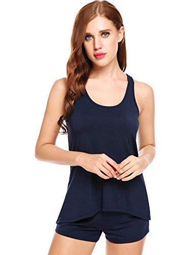 Ekouaer Schlafanzug Damen kurz sommer Shorty West 2-tlg. Set Kurz Pyjama Nachtwäsche Shirt&Shorts Baumwolle unifarbe schwarz/grau/blau