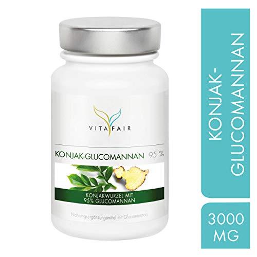 Glucomannan - 3000mg Konjakwurzel pro Tag - 120 Kapseln - 95% - Hochdosiert - Vegan - Ohne Magnesiumstearat - Made in Germany -