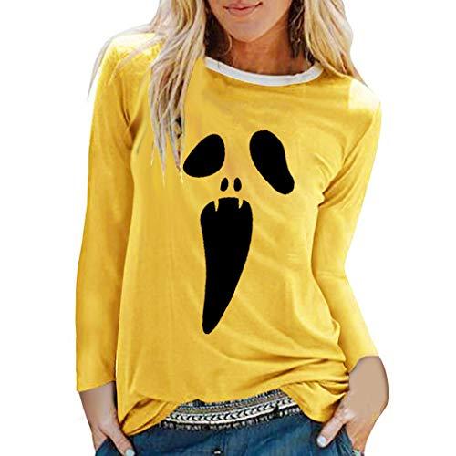 oween Weihnachten Kostüm, Frauen Langarm Geist Print Sweatshirt Pullover Tops Herbst Lose Casual Asymmetrische Druck Bluse T Shirt Oberteile ()