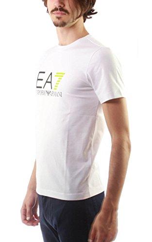 Emporio Armani EA7 Herren T-Shirt Kurzarm Kurzarmshirt runder Kragen Rot Weiß