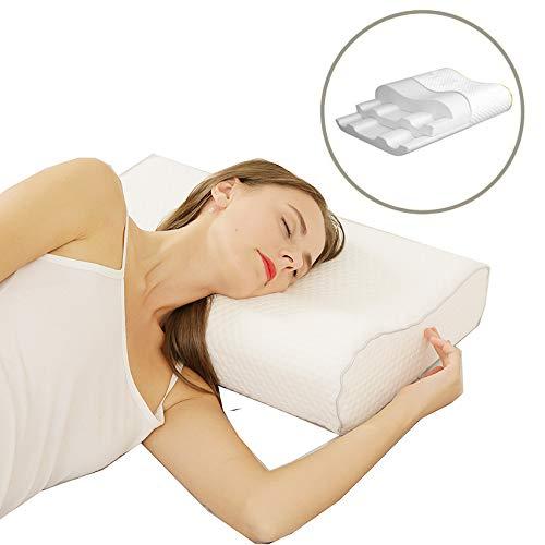 JCFamily Orthopädisches Kissen Nackenstützkissen ergonomisches Kopfkissen Memory-Schaum Kissen(Memory Foam) für Seitenschläfer Rückenschläfer und Bauchschläfer (White4) -