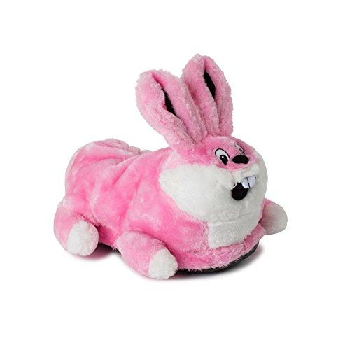 funslippers®, lustige Hasen Hausschuhe Tiere Tierhausschuhe Erwachsene und Kinder Hasen Plüsch Hausschuhe Bunny Kaninchen pink mit Gummisohle Größen 48-50 XXL