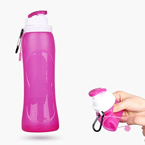 500ml silicone pieghevole sport Water Bottle, Portable food grade materiale bottiglie per viaggi all' aperto, Plum red