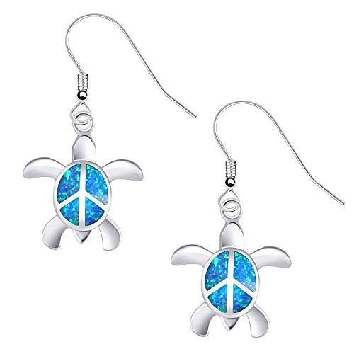 KELITCH Ohrringe Frauen 925 Sterling Silber Blau Opal Cluster Edelsteine Nette Schildkröte Ohrstecker für Mädchen Kinder Ohrringe Stecker