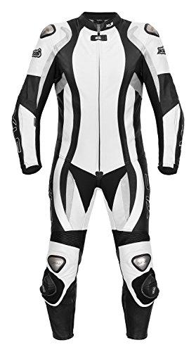 *Lederkombi von XLS als Einteiler in schwarz weiß hochwertige zweiteilige Motorradkombi*