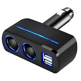 Wallfire Multi-Port 12V-24V Autoladegerät 2 Zigarettenanzünder + 2 USB-Port Autoladegerät