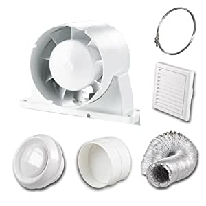 4 100 mm Inline Loft Mounted Bathroom Extractor Fan Kit with Light and Run on Timer by VENTS