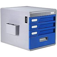 Met Love Gabinetes de Archivo A4 Tipo de Cajón 4 Capas Gabinete de Archivo de Escritorio de plástico con Bloqueo de Contraseña Oficina Caja Multifunción Simple (Color : Blue)
