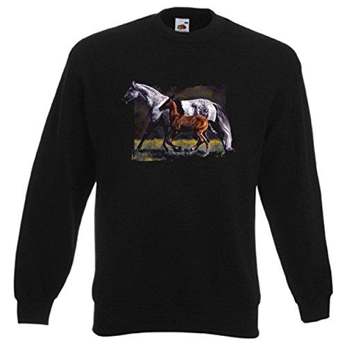 Sweatshirt für Pferdefreunde und Tierliebhaber: ...Pferd und Fohlen – süß! Maite and Aleah II Größe XL Farbe schwarz
