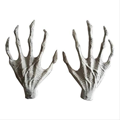 WSJDE 2 Stücke Halloween Scary Party Szene Kunststoff Skeleton Hände Hexe Hände Haunted House Escape Horror Requisiten Dekorationen (Halloween Escape Party 2019)