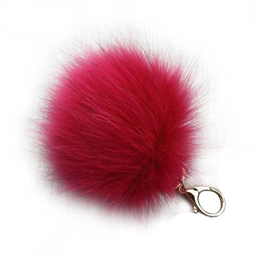 Koly_Faux Fur fai da te auto borsa Portachiavi Fluffy sfera degli accessori del pendente(Faux pelliccia di volpe) (Hot Pink)