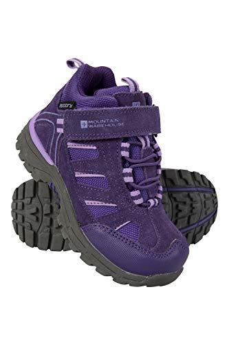 Mountain Warehouse Drift Junior Stiefel für Kinder - Wasserfeste Wanderstiefel, strapazierfähig, atmungsaktiv,mit griffiger Sohle - Wanderschuhe Für Mädchen und Jungen Violett Kinder-Schuhgröße 28 DE -