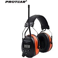 protear Bluetooth & Radio AM/FM Ohr Displayschutzfolie Gehörschutz Sicherheit Ohrenschützer mit Digital Display für Arbeiten Mähen, zertifiziert NRR 25dB, orange