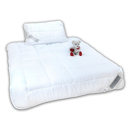 Julido Kinderbett 2 teiliges Microfaser Set; Kissen 40x60cm Decke 100x135cm Steppdecke Bettdecke + Kissen