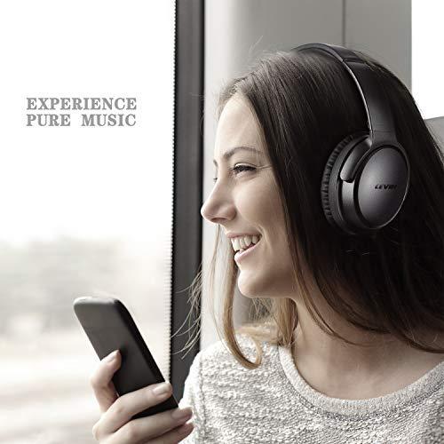 KAMTRON Bluetooth Kopfhörer Noise Cancelling Kabellos - HiFi Stereo Bass Over Ear Headset mit Mikrofon, 26-Stunden-Wiedergabezeit, Flugzeugadapter, faltbar für Reisen und Arbeiten, PC/Handy / TV - 6