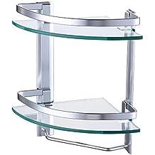 UMI. Essentials Bathroom Glass Corner Shelf with Towel Bar 2-Tier Wall Mounted Extra Thick Tempered Glass Aluminum Silver Sand Sprayed, A4123B