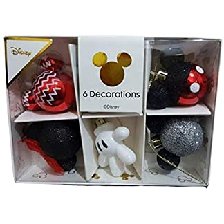 Primark Licensed Disney Mickey & Minnie Mouse Decoración Pack 6 Bolas de Navidad