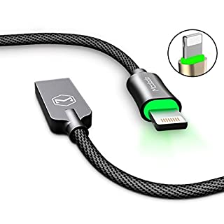 Charging Cable,AICase Smart LED Auto Disconnect Nylon Braided Sync Charge USB to Lightning Charging Cable for iPhone X,8, 8 Plus, 7 Plus,iPad iPod (1.8M, Black)