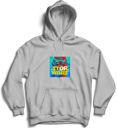 Stop Wars Science Fiction Font Art_005857 Hooded Pullover Unisex MD Black Hoodie