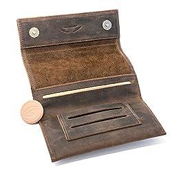COMARI Tabaktasche aus Leder | Double-Paper- & Filterfach | Magnetverschluss | kostenfreier Greengo Tabakbefeuchter (Vintage Braun)