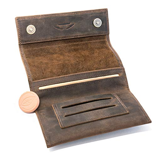 Leder Tasche Beutel (COMARI Tabaktasche aus Leder | Double-Paper- & Filterfach | Magnetverschluss | gratis Greengo Tabakbefeuchter (Vintage Braun))