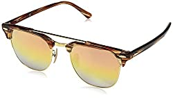 Ray-Ban Gradient Browline/Clubmaster Unisex Sunglasses - (0RB38161237I151|50|Green Mirror Gold Gradient Pin Color)