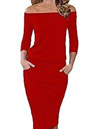 Vestiti Donna Vestitini Knielang Eleganti Spalla di Parola Matita Abito da  Sera Invernali Vestito Tubino Cerimonia 14fe20ffeef