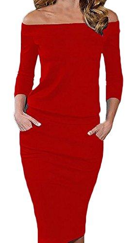 Damen Abendkleid Knielang Elegant Langarm One Shoulder Rückenfrei Schulterfrei Cocktailkleid Partykleider Rot