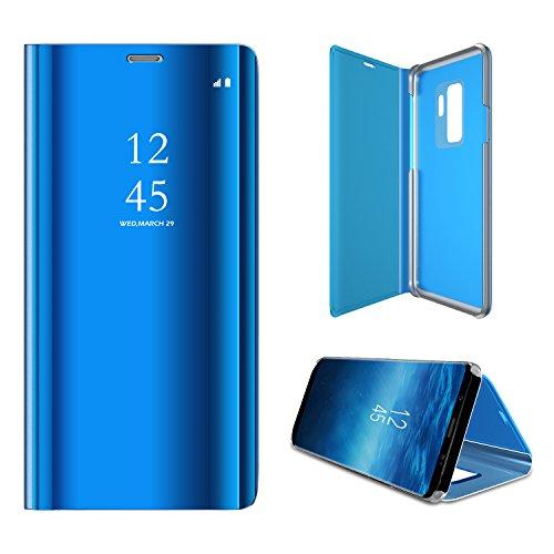 Meimeiwu Clear View Flip Custodia Cover con Funzione Kickstand Ultra-Sottile Specchio Traslucido Smart Cover per Samsung Galaxy S9 - Blu