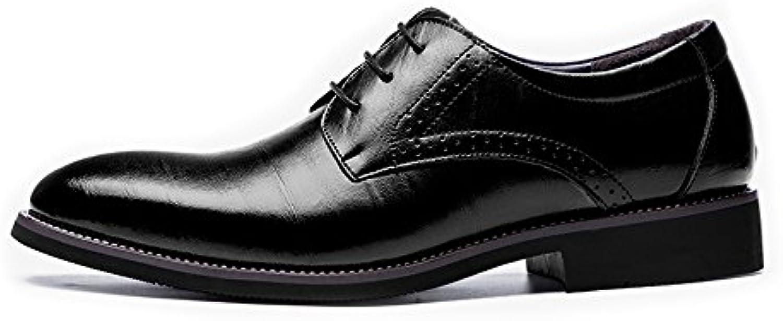 Yaojiaju Leder Oxford Schuhe Männer  Modern Echtes Leder Schuhe Lace up Atmungsaktive Business Low Top Gefüttert