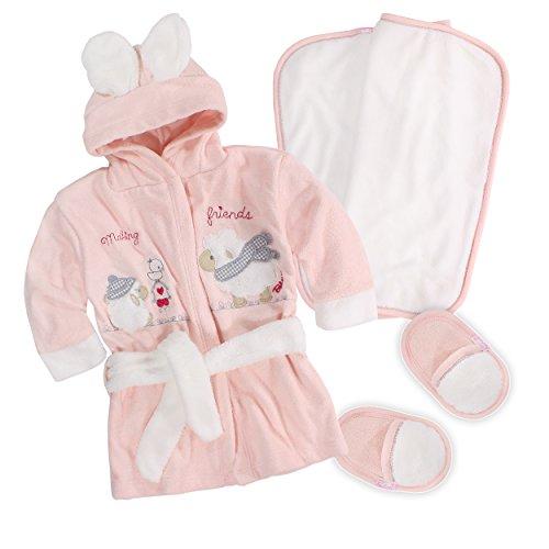 Bebessi Baby Bademantel Set mit Badetuch Schuhe Mädchen
