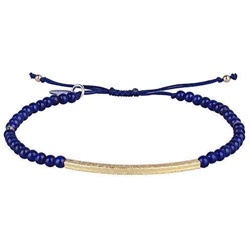 KELITCH Freundschaft Armbänder Handmadee Single Strang Gold Perlen Bar Armbänder Chic Armreif (dunkelblau)