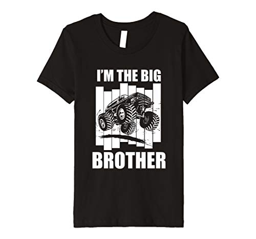 Kinder Kids Big Brother Monster Truck T-Shirt I 'm the Big Brother Design -