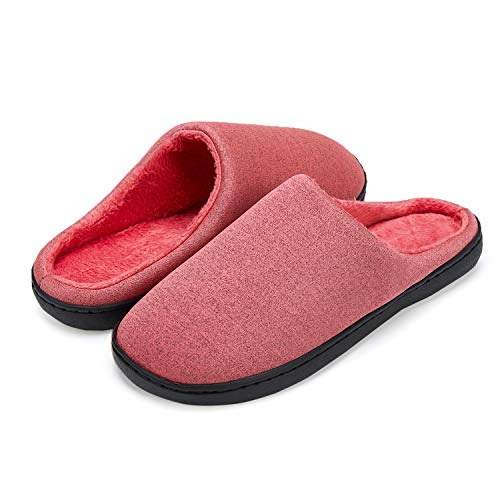 LeKuni Unisex Hausschuhe Memory Foam Pantoffeln Plüsch Wasserdicht, Gr.- 40-41 EU, Rosa