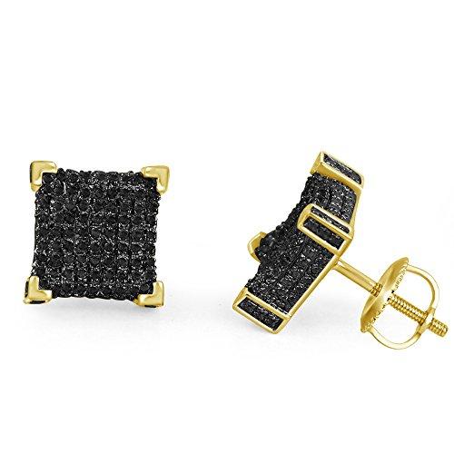lilu Jewels Design unique Coupe ronde Noir véritable diamant en argent sterling 925boucles d'oreilles Cube Big Block Vis Arrière 14k Gold Plated